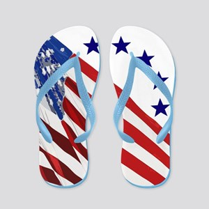 95a529571c2b Red White And Blue Flip Flops - CafePress
