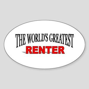 """The World's Greatest Renter"" Oval Sticker"