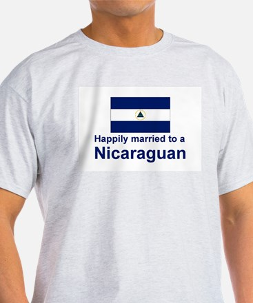 Happily Married To A Nicaraguan Ash Grey T-Shirt