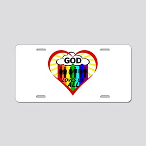 God Loves Us All Aluminum License Plate
