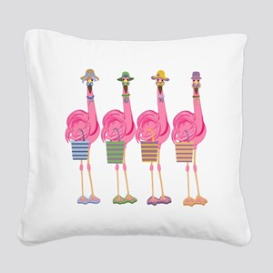 Snazzy Flamingos Square Canvas Pillow