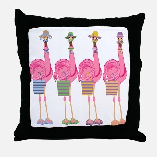 Snazzy Flamingos Throw Pillow