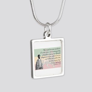 Haile Selassie Silver Square Necklace