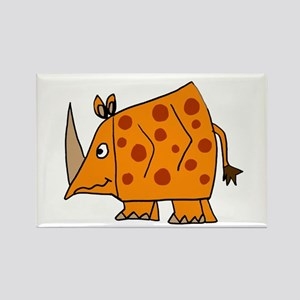 Funky Orange Rhino Rectangle Magnet