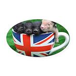 Tea Cup Piggies Oval Car Magnet