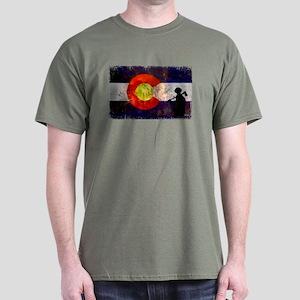 Firefighter Colorado Flag Dark T-Shirt