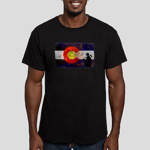Firefighter Colorado Flag Men's Fitted T-Shirt (da