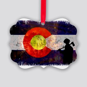 Firefighter Colorado Flag Picture Ornament