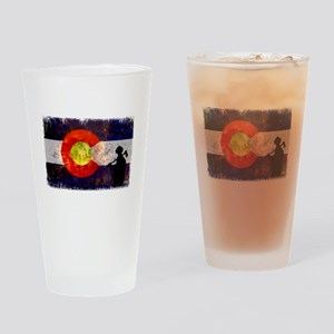 Firefighter Colorado Flag Drinking Glass