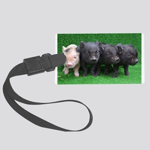 4 micro pigs in a row Large Luggage Tag