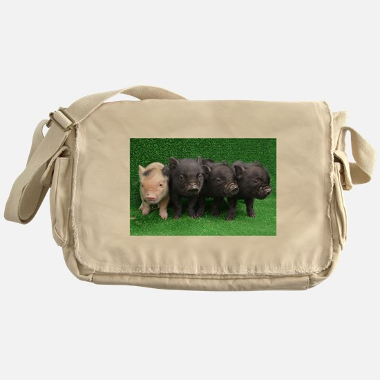 4 micro pigs in a row Messenger Bag
