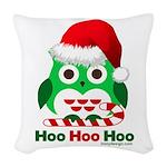 Christmas Owl Hoo Hoo Hoo Woven Throw Pillow