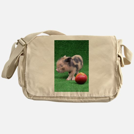 Baby micro pig with Peach Messenger Bag