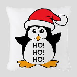 Cute Christmas Penguin Ho Ho Ho Woven Throw Pillow