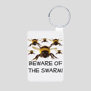 Beware Of The Swarm Aluminum Photo Keychain