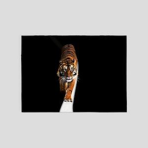 Tiger on moon path 5'x7'Area Rug