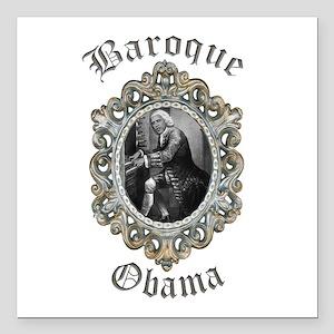 "Baroque Obama Square Car Magnet 3"" x 3"""