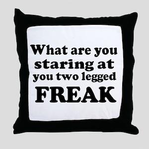 Two legged Freak Throw Pillow