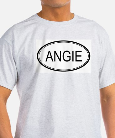 Angie Oval Design Ash Grey T-Shirt