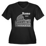 Rome Women's Plus Size V-Neck Dark T-Shirt