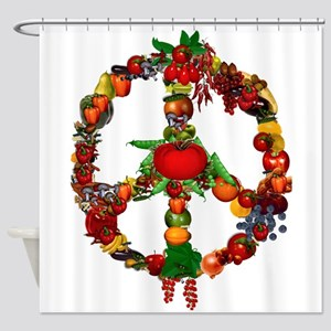 Veggie Peace Sign Shower Curtain