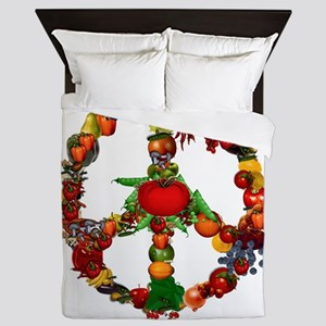 Veggie Peace Sign Queen Duvet