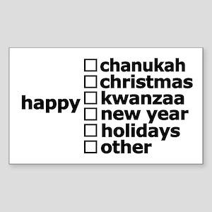 Generic Holiday Greeting Card Sticker (Rectangular