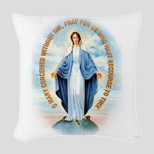 Miraculous Medal Woven Throw Pillow