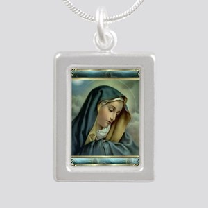 Our Lady of Sorrows Silver Portrait Necklace