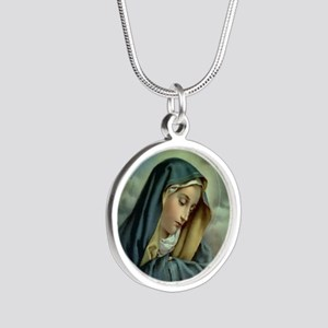 Our Lady of Sorrows Silver Round Necklace