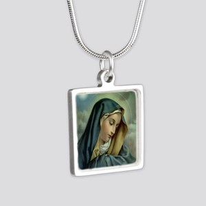 Our Lady of Sorrows Silver Square Necklace