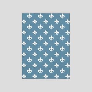 Sky Blue Fleur de Lis 5'x7'Area Rug