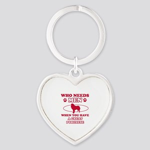 Funny Great Pyrenees lover designs Heart Keychain