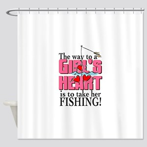 Fishing - Way to a Girl's Heart Shower Curtain