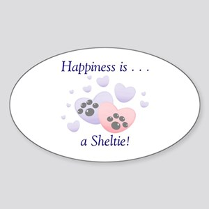 Happiness is...a Sheltie Oval Sticker