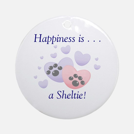 Happiness is...a Sheltie Ornament (Round)