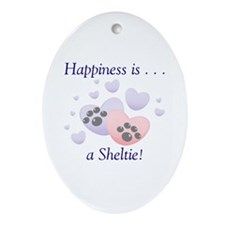 Happiness is...a Sheltie Oval Ornament