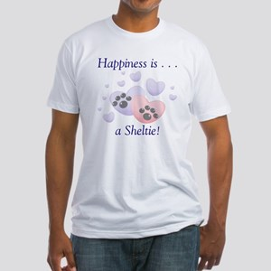 Happiness is...a Sheltie Fitted T-Shirt