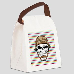 Military Skull on Rainbow Canvas Lunch Bag