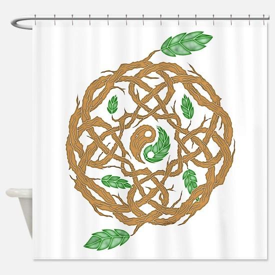 Celtic Nature Yin Yang Shower Curtain