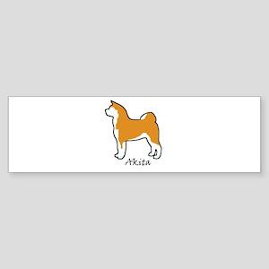 Red and White Akita Bumper Sticker