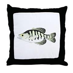 White Crappie sunfish fish Throw Pillow