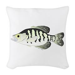 White Crappie sunfish fish Woven Throw Pillow