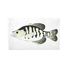 White Crappie sunfish fish 3'x5' Area Rug