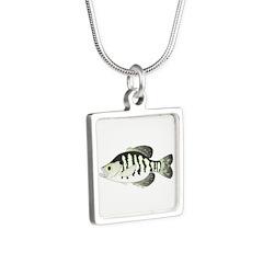 White Crappie sunfish fish Necklaces