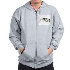 White Crappie sunfish fish Zip Hoodie