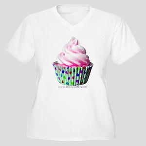 Pink Polka Dot Cupcake Plus Size T-Shirt
