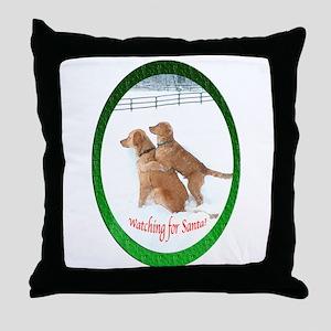Santa Watching Golden Throw Pillow
