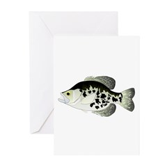 Black Crappie Sunfish fish Greeting Cards (Pk of 2