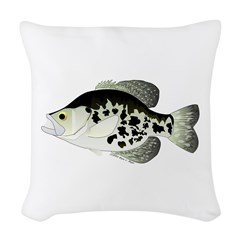 Black Crappie Sunfish fish Woven Throw Pillow